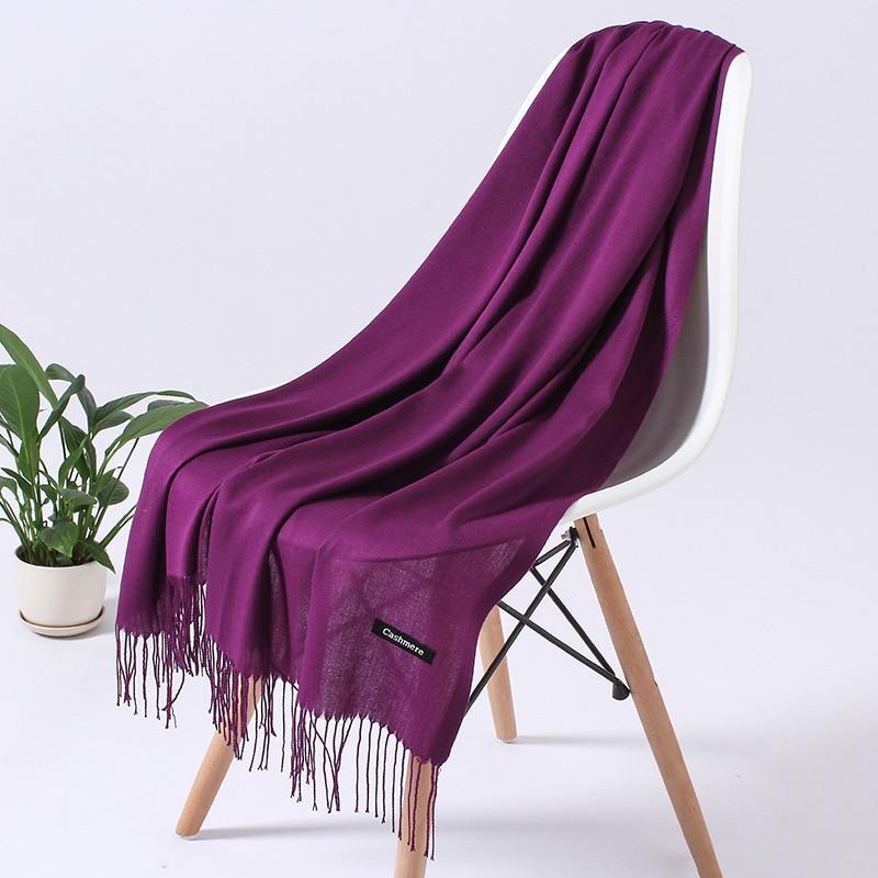 Однотонный кашемировый шарф для женщин новые длинные мягкие шали и палантины пашмины модные хиджаб с кисточками женские шейные шарфы - Цвет: 110g purple