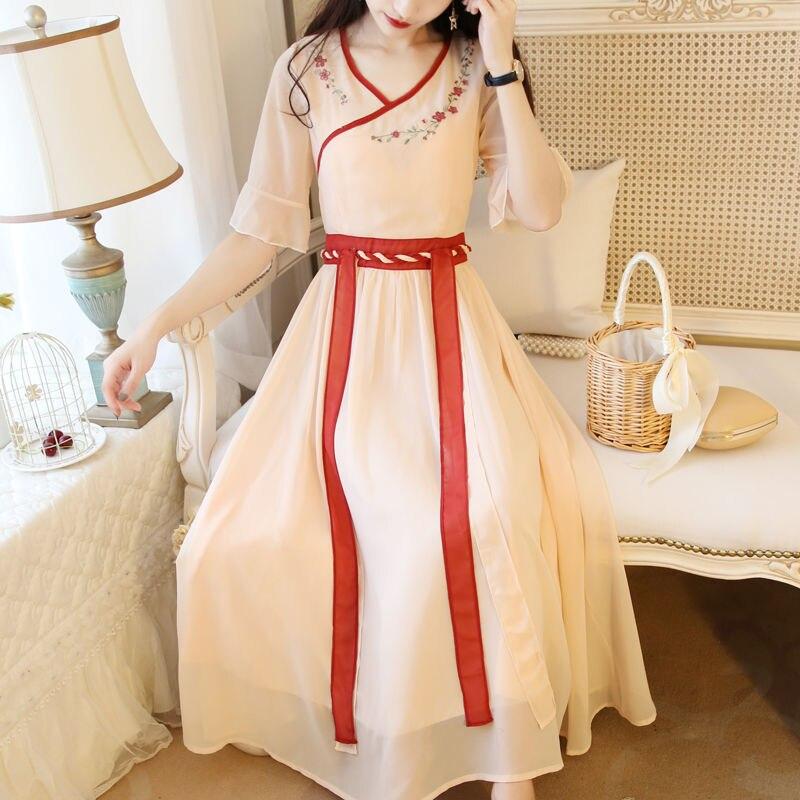 Geleneksel antik çin tarzı Hanfu kostüm kadınlar Vintage oryantal Han hanedanı prenses şifon günlük giyim peri elbiseler