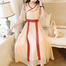 Disfraz tradicional de Hanfu de estilo chino antiguo para mujer, vestidos de hadas Vintage de princesa de gasa de la década de Han