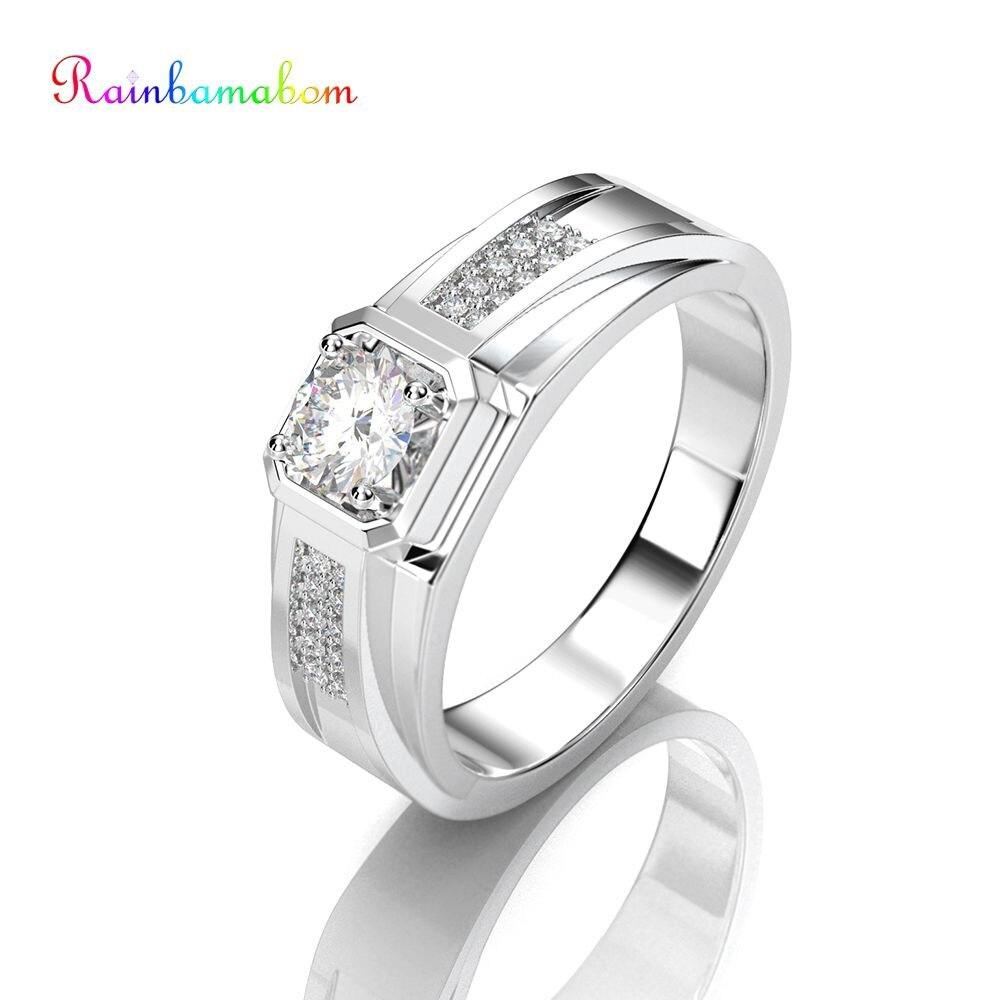 Rainbamabom 925 Sterling Silver Created Moissanite Gemstone Wedding Engagement Unisex Men White Gold Ring Fine Jewelry Wholesale