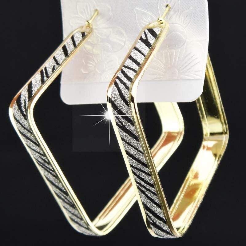 Лидер продаж, модные женские серьги-кольца с принтом зебры из матового серебра, большие вечерние ювелирные изделия, женские серьги в подарок - Окраска металла: sqaure zebra gold