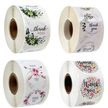 500pcs Per roll Floral Thank You Reward  Sticker Seal Labels Christmas Gift Decoration Sticker for Package Stationery Sticker