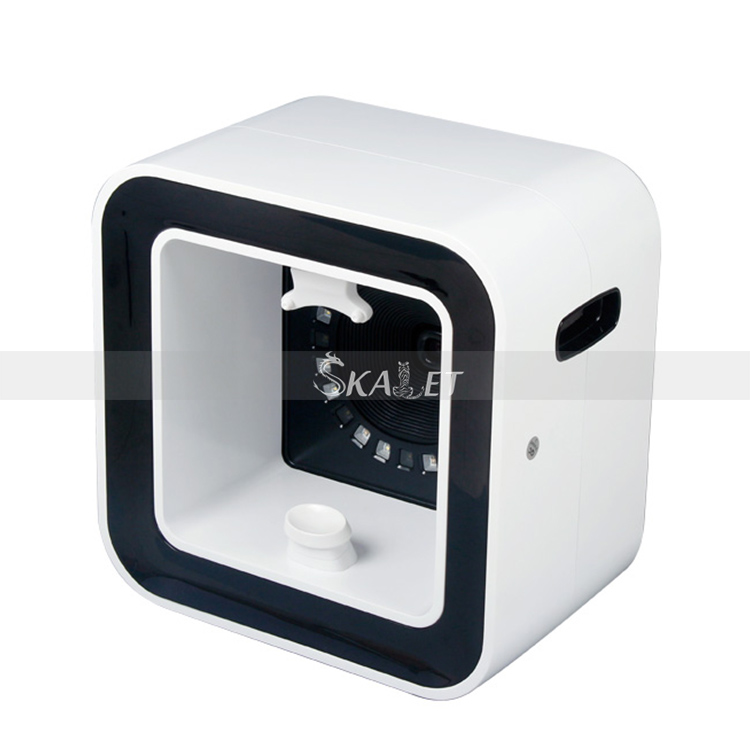 Korea Technology Square Mirror Facial Skin Analyzer 3D Perspective Image Showing Face Care Health Monitoring Spa