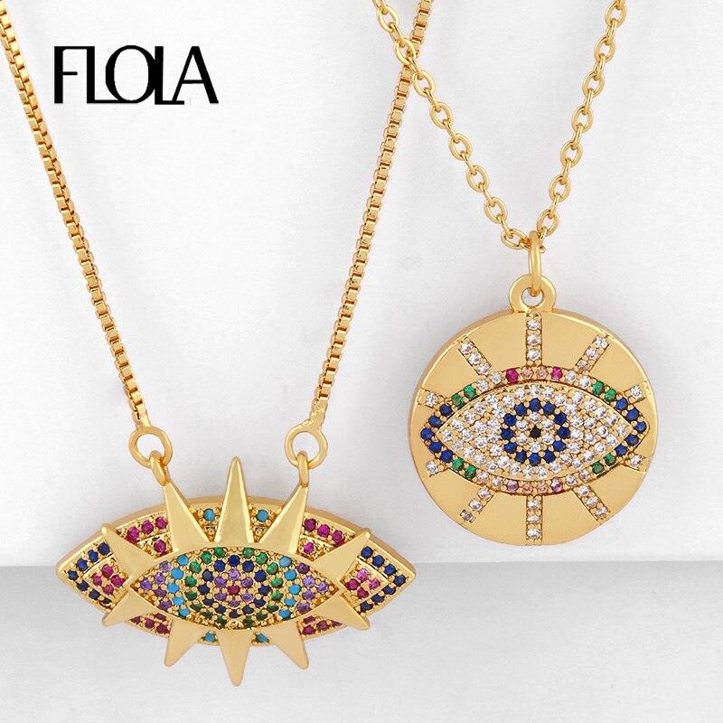 FLOLA Gold Gefüllt Bösen blick Halsketten Für Frauen Blue Eye Anhänger Halsketten Kristall CZ Zirkon Regenbogen Schmuck olho grego nkeq21