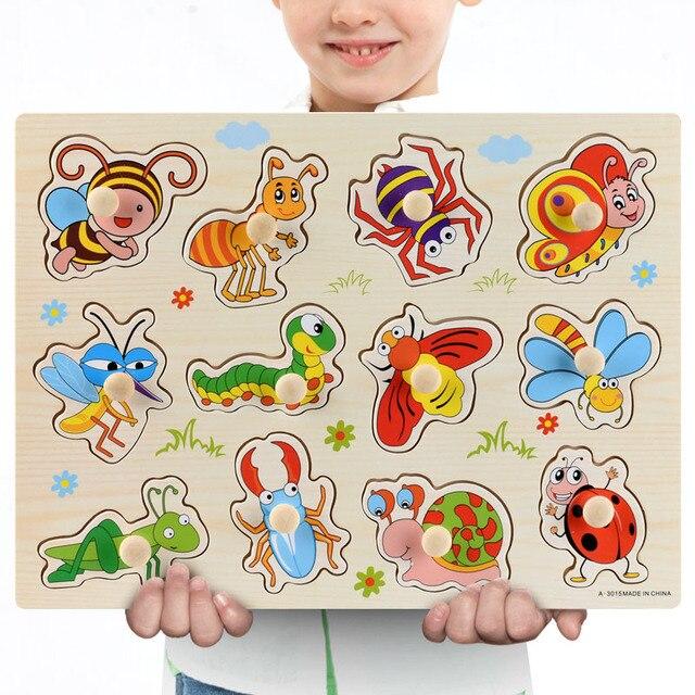 Nuovo 30cm Giocattoli Del Bambino Montessori Puzzle Di Legno A Mano Grab Educativi Puzzle di Legno per I Bambini Del Fumetto Animale Bambino Veicolo regalo 6