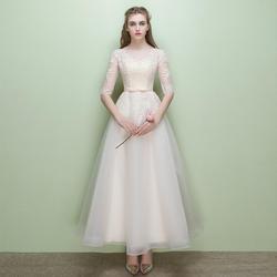 Легкий кремовый цвет с прозрачным вырезом и кружевом Vestidos De Festa, длина до щиколотки, а-силуэт, платья подружки невесты с коротким рукавом