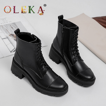 OLEKA Leather Mid-calf Winter Boots Platform Crystal Round Toe   Winter Boots Women Fashion Style Motorcycle Boots  New  AS886 girls boots new kids winter shoes uovo brand flat heel leather mid calf national style eu26 39 chaussures fille enfants bottes