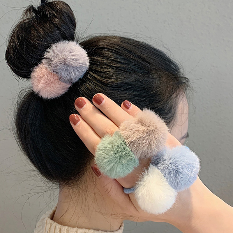 New Patchwork Soft Hairballs Elastic Hair Bands For Women Girls Ponytail Holder Headband Rubber Bands Fashion Hair Accessories
