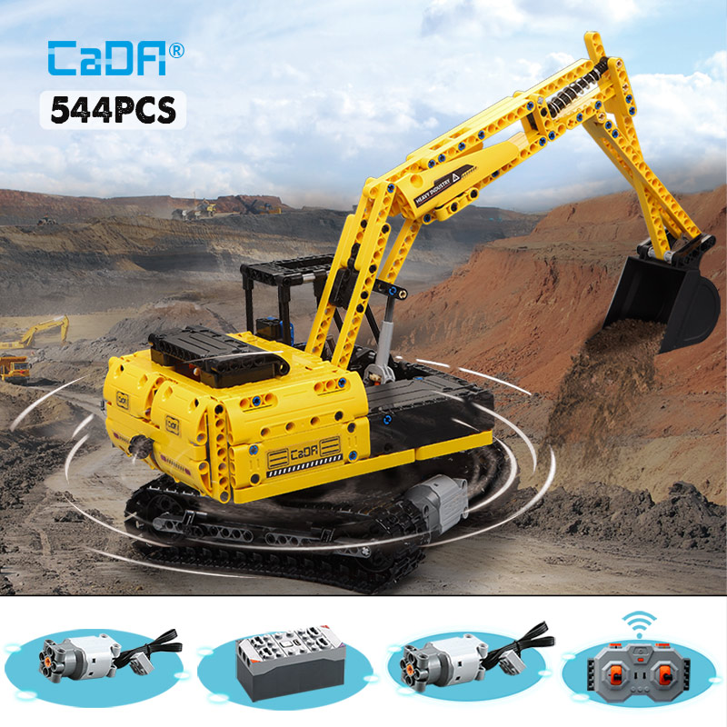 Cada 544PCS RC Electric Motor Track Car Building Blocks Legoing City Technic Engineering Excavator Bricks Moc Toys For Kids