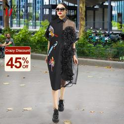 Summer Woman Black Midi Mesh & Chiffon Shirt Dress Plus Size Ruffle Embroidery Sequined Lady Sheer Voile Party Dresses Robe 3392