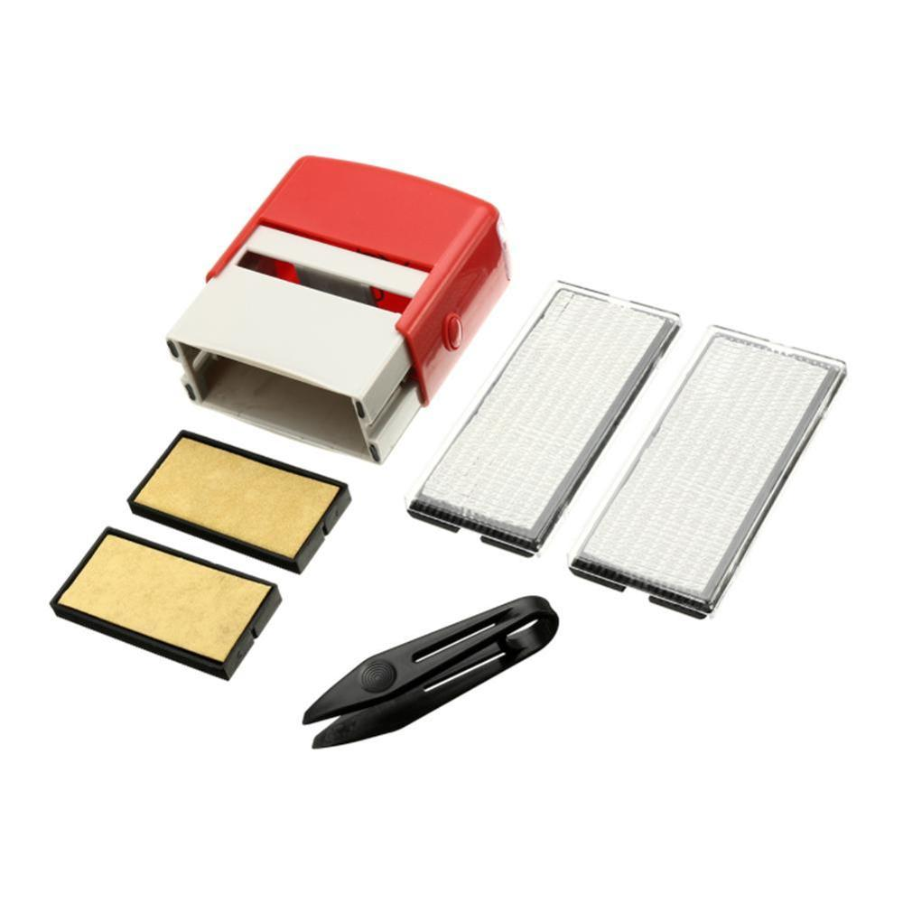 6Pcs/set New Self Inking Stamp Set Custom Personalised DIY Business Name Number Address Printing Rubber Stamp With Tweezers Kit