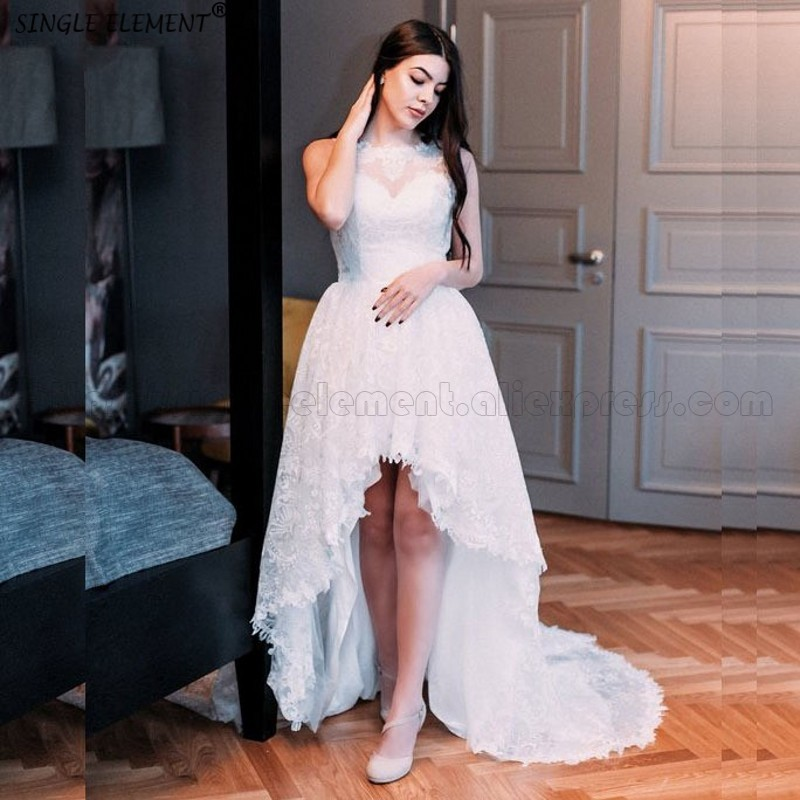 Romantic 2020 High Low Wedding Dresses Casamento Sleeveless Vestido De Noiva Lace Wedding Gown Custom-made