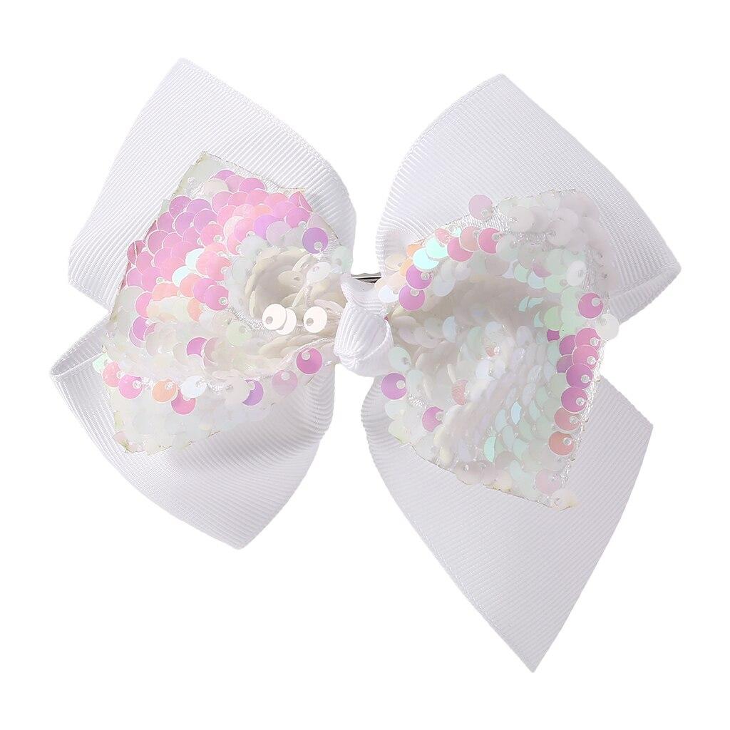 Заколка для волос для малышей, девочек, бант, Блестящие Блестки, милые аксессуары для принцессы, детские шпильки D08C - Цвет: Белый