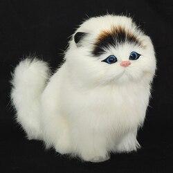 Cabelo real eletrônico animais de estimação gatos bonecas simulação animal gato brinquedo meowth crianças bonito animal de estimação brinquedos de pelúcia modelo ornamentos xtmas presente