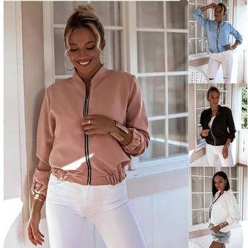 Autumn Women's Casual Long-sleeved Solid Color Zipper Jacket 2020 Fashion Slim White Basis Tops Coat Female Windbreaker Outwear