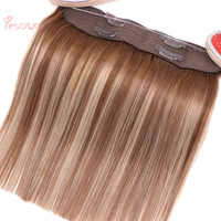 Yesowo Free Shipping 12Inch Flip In Finish Line Weft 4/27/4# 70g Cheap Unprocessed Indian Remy Human Hair Extension Remy Halo
