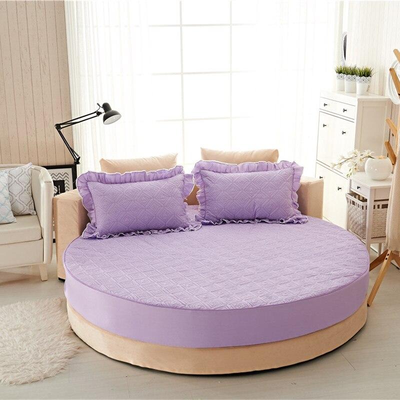Princesa rodada folha 100% algodão acolchoado tampa de cama lençol 3 pçs/set círculo elástico rei, super king size engrossar algodão pad - 6