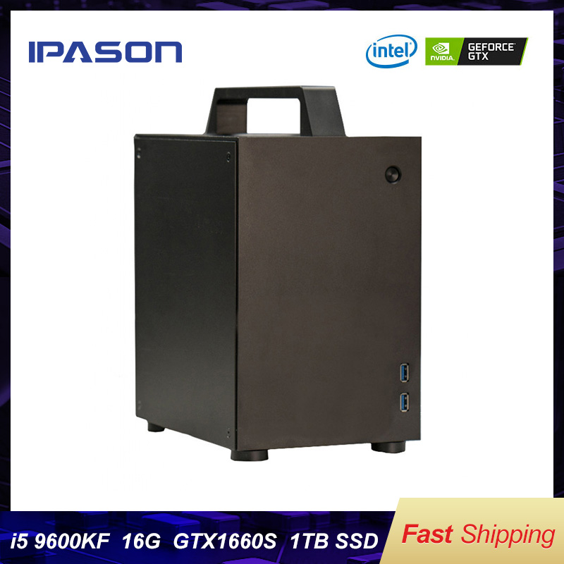 IPASON Black Crystal Case <font><b>Intel</b></font> 9600KF 4.6GHz 16G RAM 1T SSD Gtx1660S Graphics Card Portable Computer PC MINI Gaming Desktop PC image