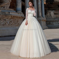 Light Champagne A Line Wedding Dresses Beading sashes Scoop Long Sleeves Lace Appliques Bridal Gown Button Vestido De Noiva