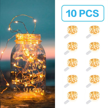 10Pcs 2M LED String Lights waterproof Copper Wire LED Holiday lighting Fairy Garland For Christmas Tree Wedding Party Decoration 2pcs led string lights 3 metre 30 leds starry copper wire fairy string lights for holiday party wedding christams decoration