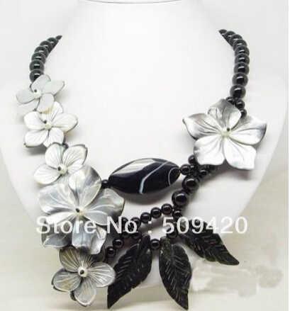 จัดส่งฟรี >>> Amazing Fresh Water Pearl Leaf SHELL ดอกไม้ clasp ผู้หญิงใหม่สร้อยคอจี้