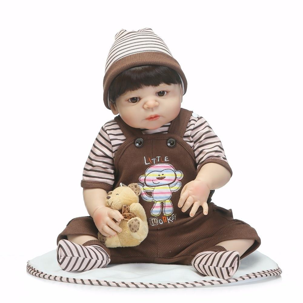 Baby Reborn Doll 46CM Playmete for Newborn Boys Girls Gift Full Silicone Luxury with Bear Child Bathe Toys Boneca Dolls for Kids