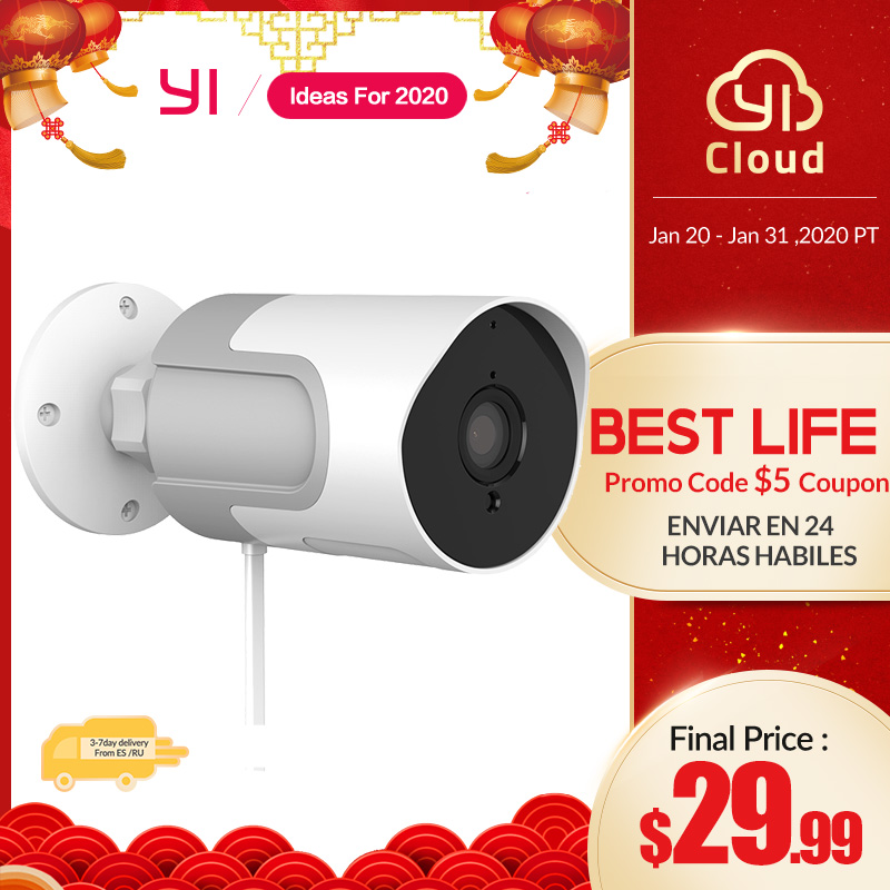 YI LoT Outdoor Camera 1080p Wireless Weatherproof IP Cam Night Vision Security Surveillance Camera Systerm YI Cloud Available