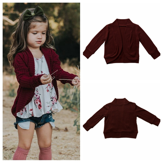 Knitted Cardigan Jacket Baby Solid Sweater Baby Sweater Coat Girls Cardigan Girls Fall Sweaters Toddler Kids Baby Girls Outfit 1