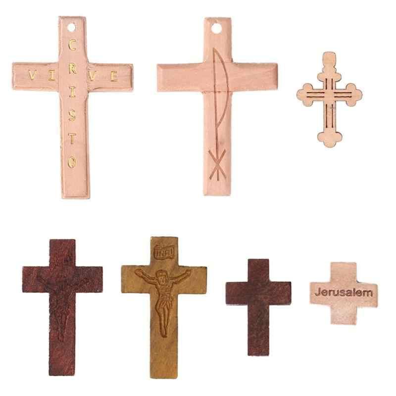 DIY ไม้กางเขน Scrapbooking ศิลปะหัตถกรรมพระเยซูโบสถ์ศาสนา Charm จี้บ้านตกแต่งอุปกรณ์เสริม 5/10/20pcs