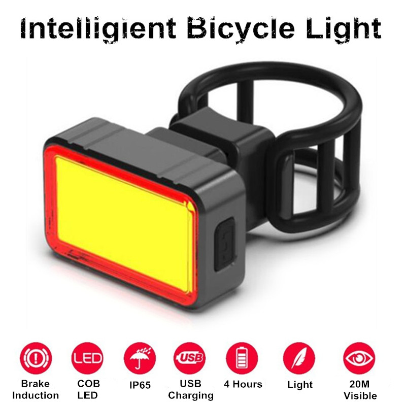 100LM Waterproof USB Rechargeable Intelligent Induction Brake Bicycle Taillight Rear COB+28 LED Bike Night Riding Light