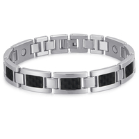 Rainso Fashion Health Care Bio Energy Silver Black Bracelet Bangle 316L Stainless Steel Magnetic Bracelets Jewelry