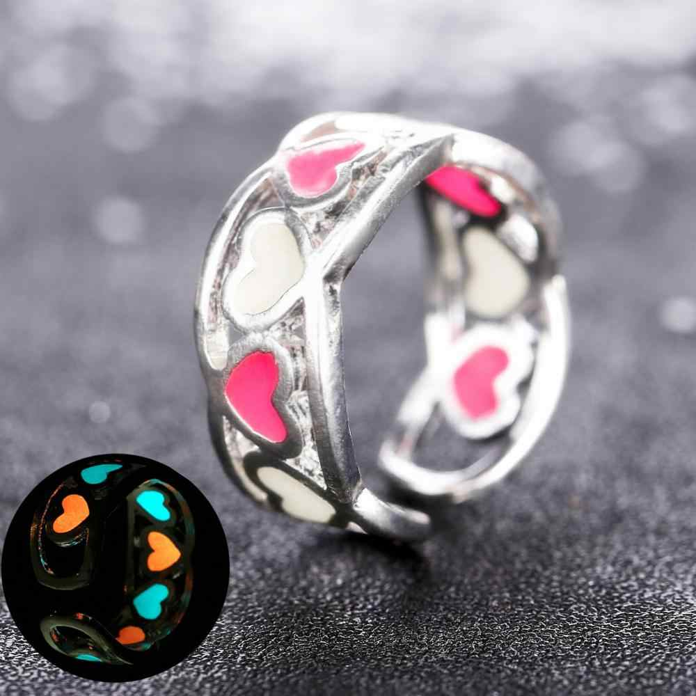 Fashion Jewelry Glow In Dark Heart Adjustable Ring For Women Good Gift
