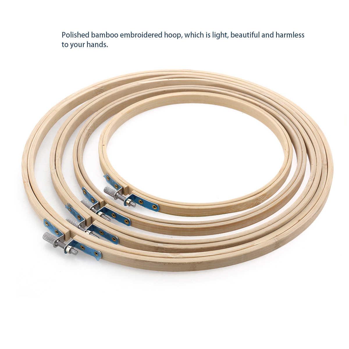 1 Uds. 10-40cm mano de madera punto de cruz máquina de bordado aro de bambú marco bordado aro redondo herramientas de coser