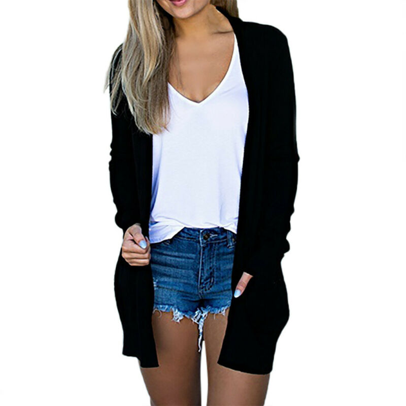 Women Knitted Open Front Sweater Cardigan Long Sleeve Loose Sweater Autumn Casual Tops Outwear Midi Long Tops Coat