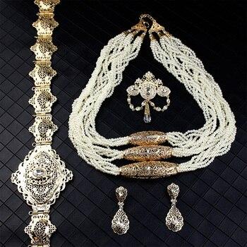 moroccan Gold Color Moroccan Wedding Jewelry Sets For Women Bead Necklace Brooch Drop Earring Metal Belt Caftan Bijoux Gift 1