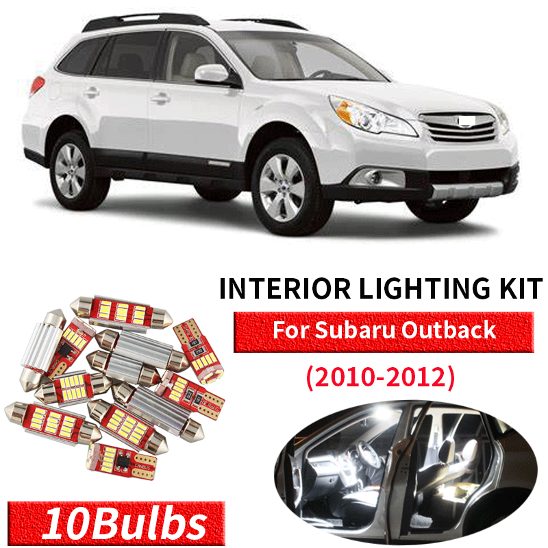 10x Canbus Error Free LED Interior Light Kit Package For 2010-2012 Subaru Outback Car Accessories Map Dome Trunk License Light