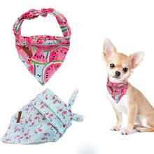 2 Pcs Unique Style Paws Dog Cat Bandana Accesseries Pet Product Gift for Bandage Collar Flower Blue Melon