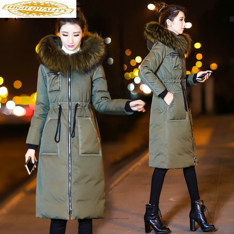 2019 New Winter Coat Women 90% White Duck Down Jacket Women Down Coat Raccoon Fur Collar Korean Warm Parka Casaco 12457 YY1633