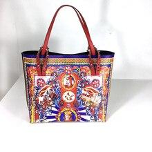 Fashion designer graffiti ladies handbag leather small luxury open bag ladies evening bag large capacity 2019