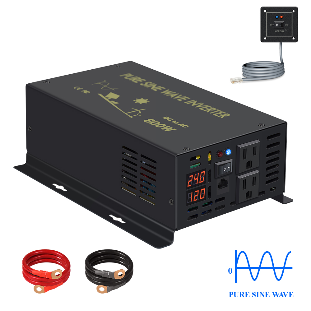 Wired Control Pure Sine Wave Inverter Power 800W Solar Battery Inverter 12V/24V/48V/96V/110V DC to AC 120V/220V/240V Converter