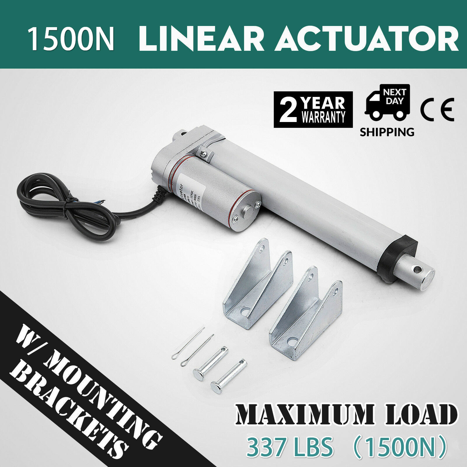 337Ibs 1500N 4-18 Inch  Electric Motor Linear Actuator DC 12V 10mm/s For Lectric Self Unicycle Scooter Input Voltage Range