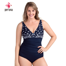 Bikini Swimsuit Beachwear Tummy-Control Plus-Size Women Push-Up Blue PERONA