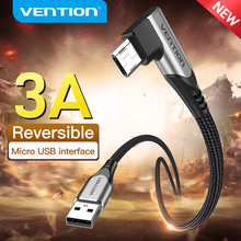 Vention Micro USB Cable 3A 90 Degree Fast Charge Data Cable For Xiaomi Remdi Samsung Android Mobile Phone USB Charger Cable Cord