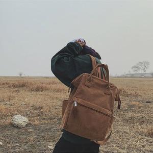 Image 2 - コーデュロイ女性のためのヴィンテージ冬カジュアル無地バックパック女性代の女の子学校bagpack mochila feminina