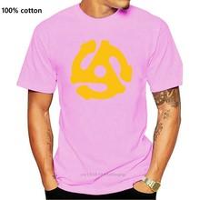 Camiseta negra de Dj para hombre, camisa ajustada de algodón con adaptador de pequeño disco de vinilo, Araña de 45 Rpm, inserto de música, estilo Popular