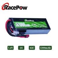 RacePow-batería Lipo de 5200mAh, 7,4 V, 2S, 65C, con enchufe T Deans, escala 1/10 1/8, para Traxxas, Slash, coche, camión, tanque, Buggy