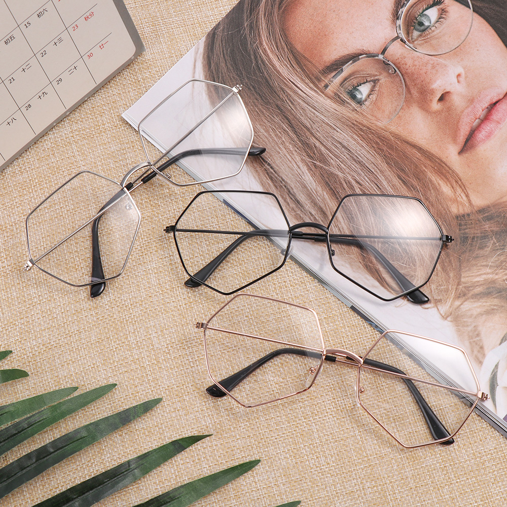 Unisex Metal Vintage Polygon Glasses Oversized Frame Optical Eyeglass Frame Temperamental Spectacles Reading Glasses Hot Sale
