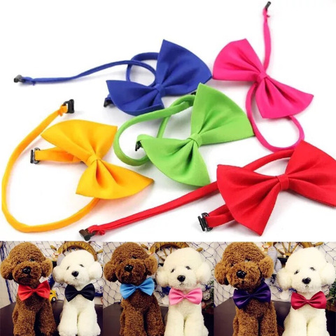 Three-] Dog Neck Ring Pet Tie Cat Dog Butterfly Bowtie Bandana Neck Ring Teddy Bandana Accessories