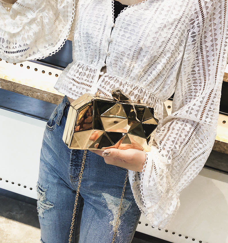 Hexagon Women Handbags Metal High Quality Clutches Fashion Geometric Mini Party Black Evening Purse Silver Bags Gold Box Clutch (12)
