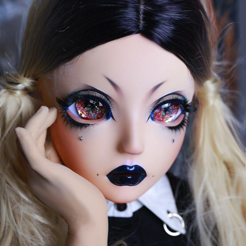 (HIDOLLS 14) fait à la main femme fille résine de silice demi tête Cosplay japonais jeu de rôle BJD Kigurumi masques Crossdresser poupée masque